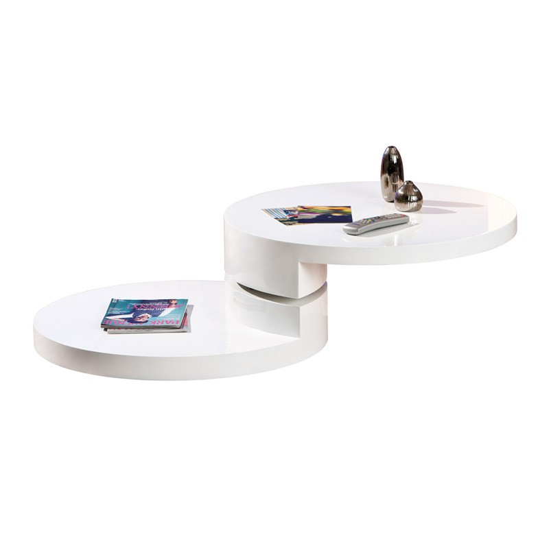 Table basse ronde pivotante serena blanc for Table ronde blanc