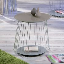 """Table d'Appoint Ronde """"Tressy"""" Taupe"""