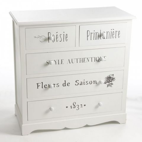 "Commode 5 Tiroirs ""Eklor"" Blanc"