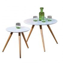 "Lot de 2 Tables d'Appoint ""Pico"" Ronde Blanc"