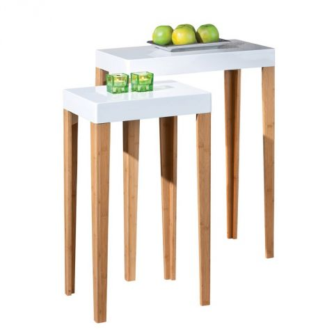"Lot de 2 Tables d'Appoint ""Pico"" Rectangulaire Blanc"
