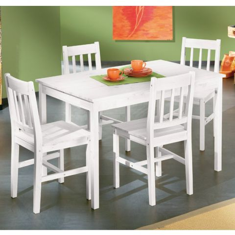 "Ensemble Table & Chaises ""Alienor"" Blanc"