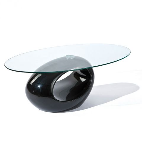 "Table Basse Design Verre ""Vicky"" 110cm Noir"
