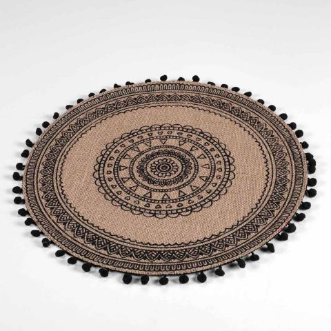 "Set de Table en Jute ""Renata"" 38cm Noir"