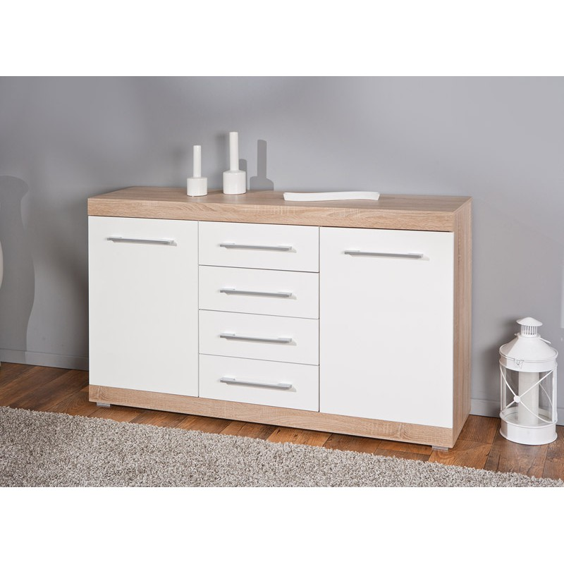 buffet 2 portes 4 tiroirs luni blanc. Black Bedroom Furniture Sets. Home Design Ideas