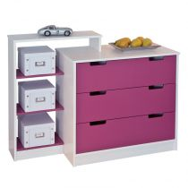 "Commode 3 Tiroirs ""Kids"" Fuchsia"