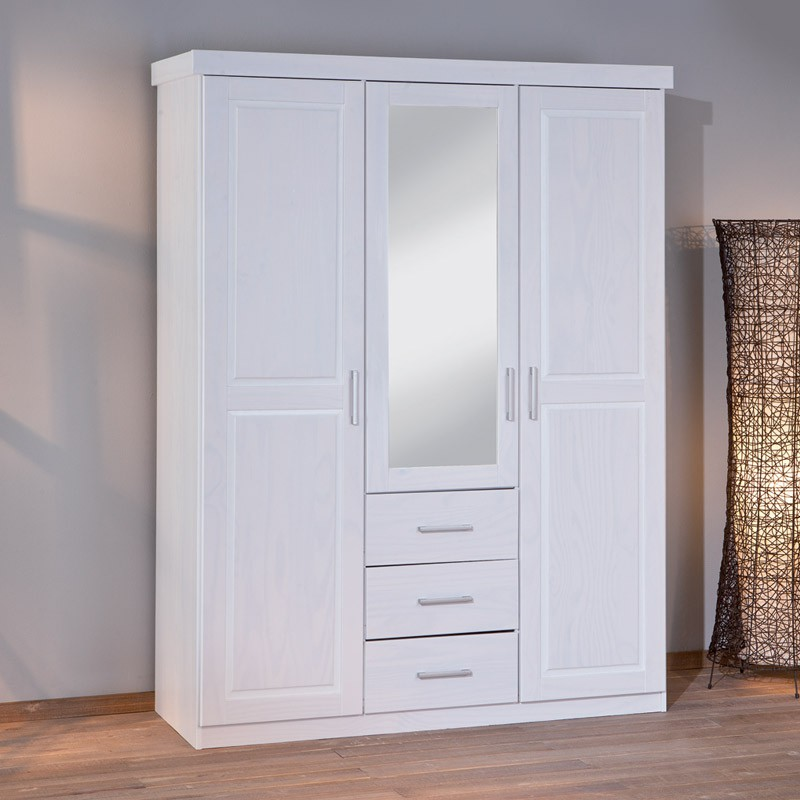 armoire 3 portes 3 tiroirs angel blanc. Black Bedroom Furniture Sets. Home Design Ideas
