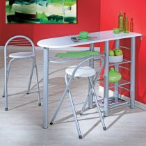 "Ensemble Table de Bar & 2 Tabourets ""Quickly"" Blanc"