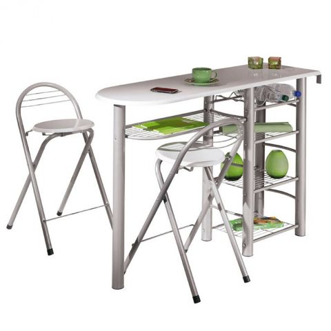 """Lot 1 Table Bar & 2 Tabourets """"Quickly"""" 117cm Blanc"""
