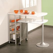 "Table de Bar Pivotante Métal ""Moove"" 183cm Blanc"