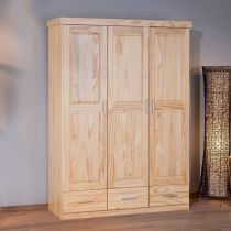 "Armoire 3 Portes 3 Tiroirs ""Angel"" Naturel"