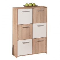 "Commode 6 Portes ""Victoria"" 115cm Blanc & Naturel"