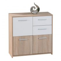 "Commode 3 Portes ""Victoria"" 77cm Blanc & Naturel"