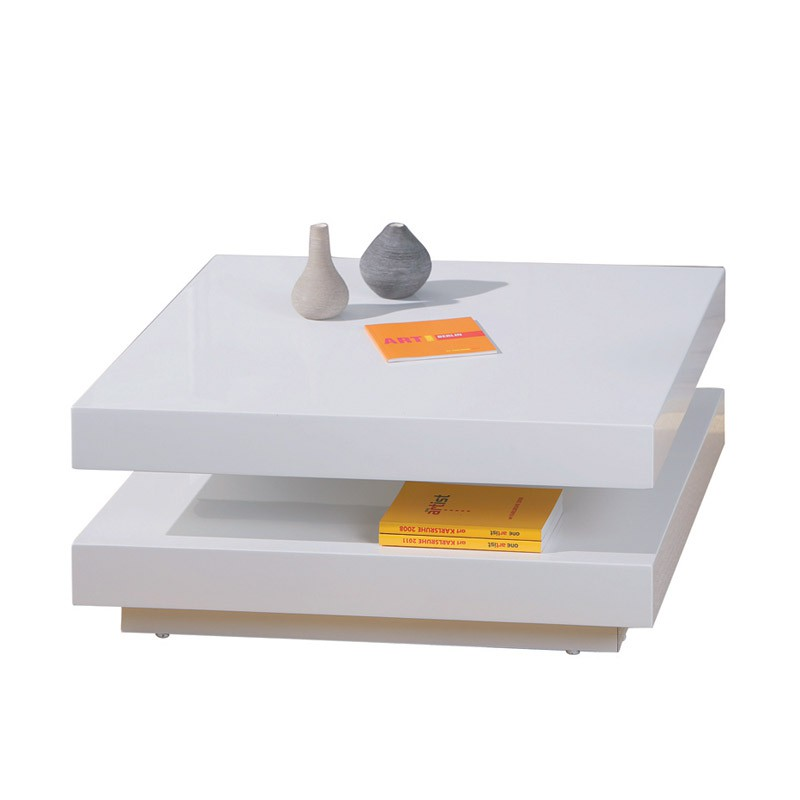 Table basse carr e pivotante serena blanc - Table basse carree blanc ...