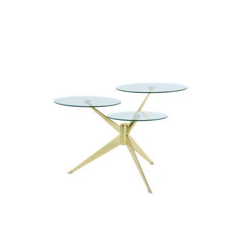 "Table d'Appoint Design ""Triplet"" 75cm Or"