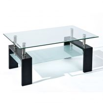 "Table Basse Design en Verre ""Leny"" 100cm Noir"