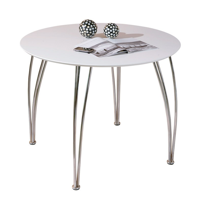 Table de repas ronde adam 100cm blanc for Table ronde 100 cm avec rallonge