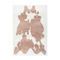 "Tapis Imitation Fourrure ""Rabbit"" Taupe & Blanc"