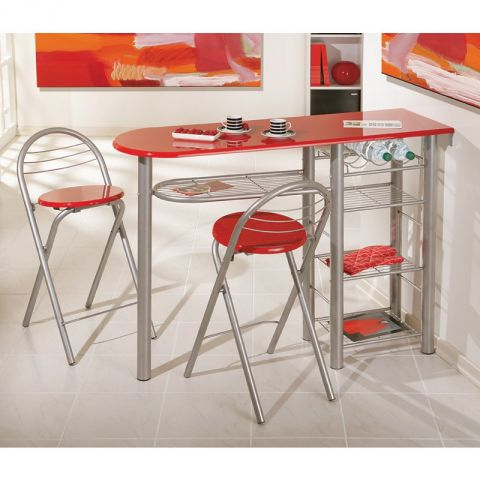 "Ensemble Table de Bar & 2 Tabourets ""Quickly"" Rouge"