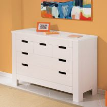 "Commode 5 Tiroirs ""Home"" Blanc"