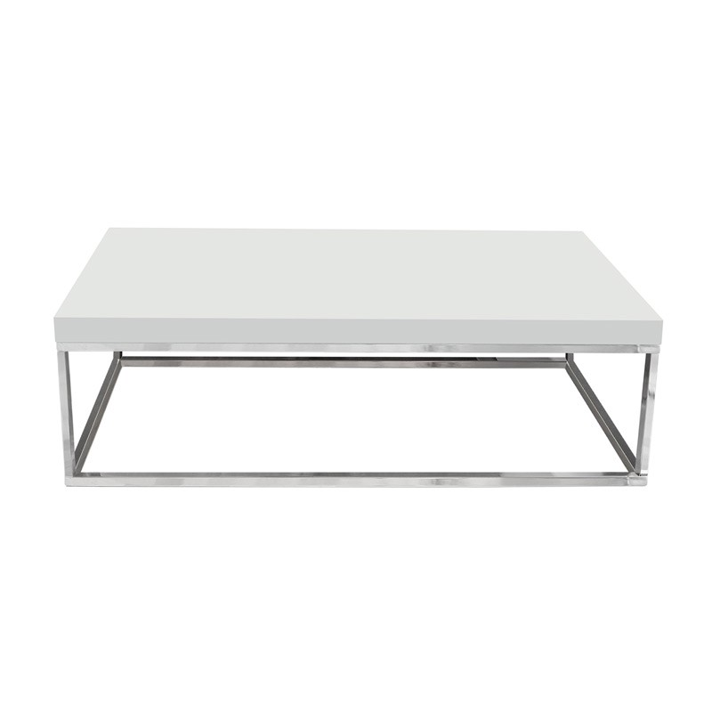 temahome table basse 120cm prairie blanc laqu pieds chrome. Black Bedroom Furniture Sets. Home Design Ideas
