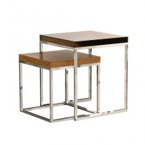 "TemaHome - Lot de 2 Tables Gigognes 55cm ""Prairie"" Noyer & Chrome"