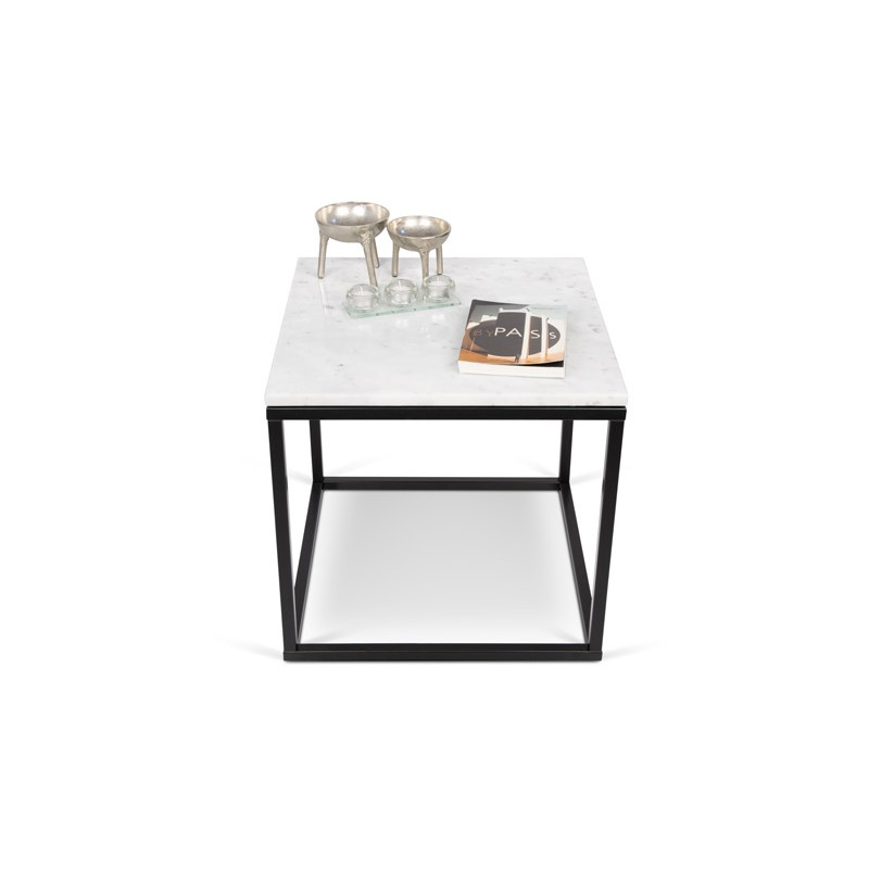 temahome table d 39 appoint 50cm prairie marbre blanc m tal noir. Black Bedroom Furniture Sets. Home Design Ideas