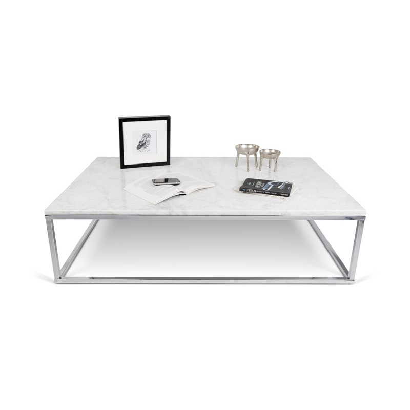 Table Basse Metal Blanc.Temahome Table Basse 120cm Prairie Marbre Blanc Metal Chrome