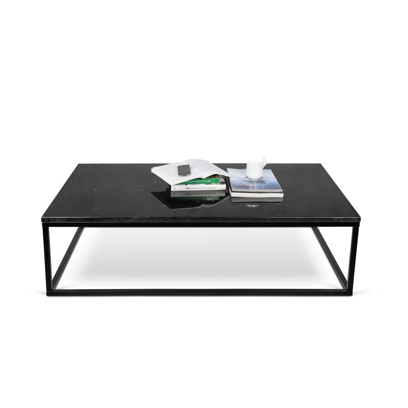 Temahome table basse 120cm prairie marbre noir m tal - Table basse metal noir ...