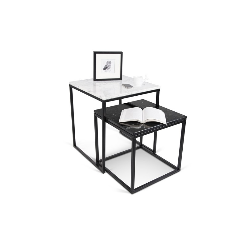 temahome table gigogne 55cm prairie marbre blanc noir. Black Bedroom Furniture Sets. Home Design Ideas