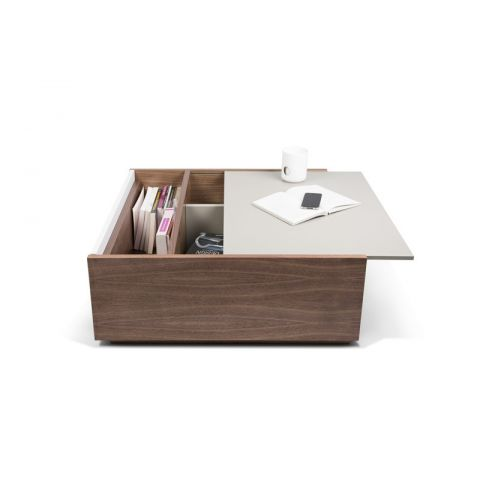 "TemaHome - Table Basse ""Dann"" Noyer Gris & Blanc"