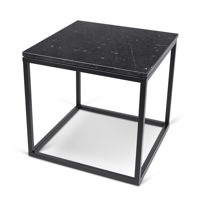 temahome table d 39 appoint 50cm prairie marbre noir m tal noir. Black Bedroom Furniture Sets. Home Design Ideas