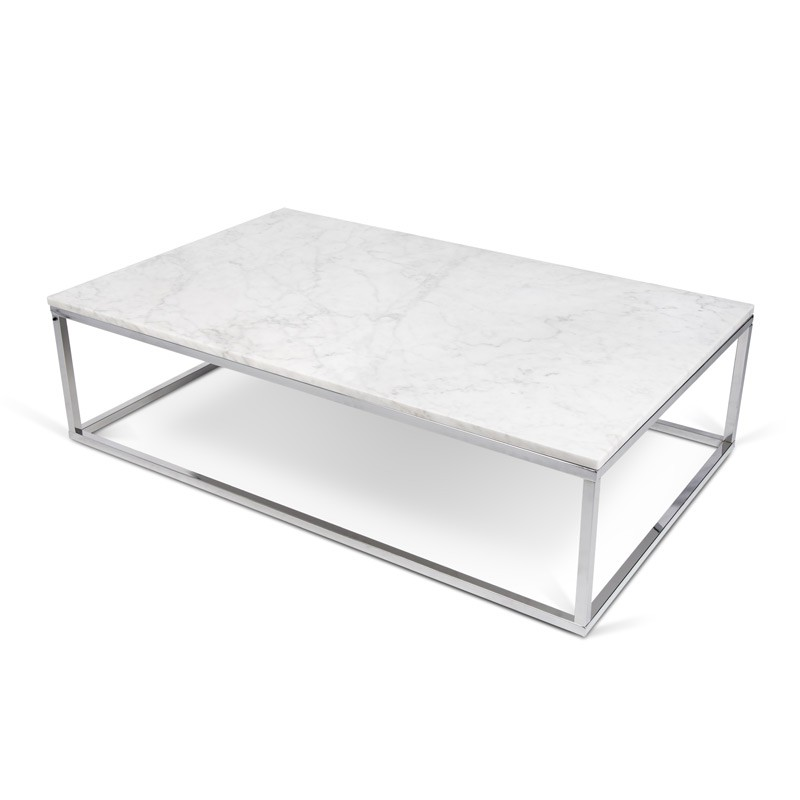 Temahome Table Basse 120cm Prairie Marbre Blanc Metal Chrome