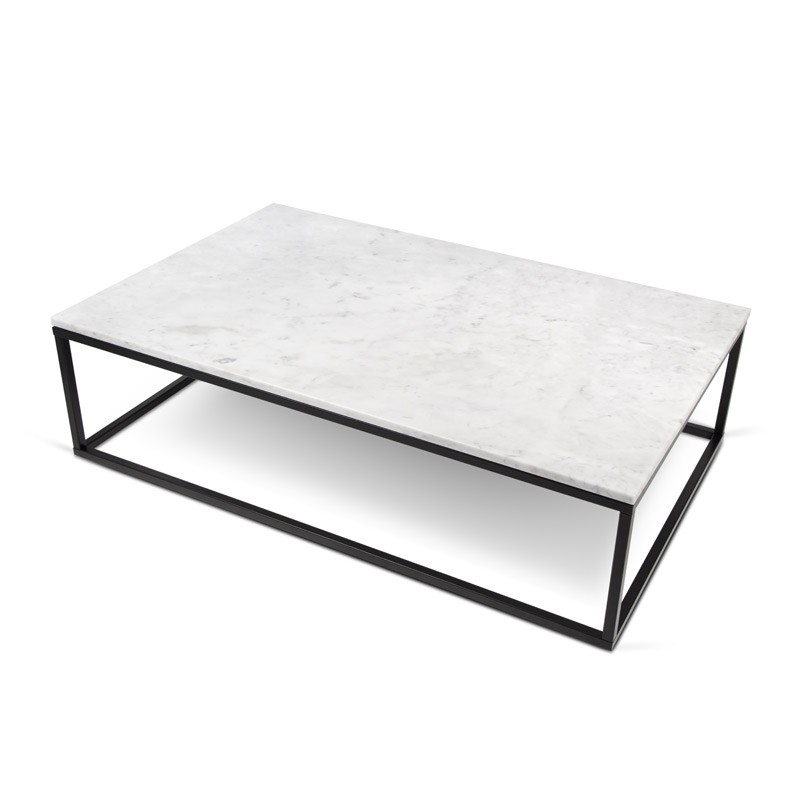 Temahome table basse 120cm prairie marbre blanc - Table basse metal noir ...