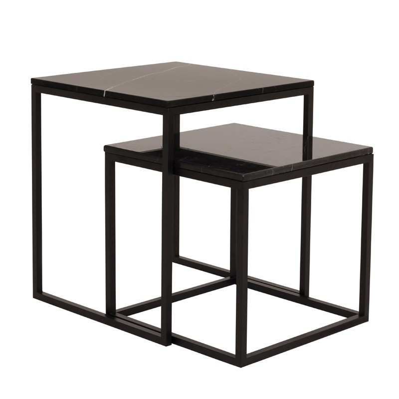 temahome table gigogne 55cm prairie marbre noir. Black Bedroom Furniture Sets. Home Design Ideas