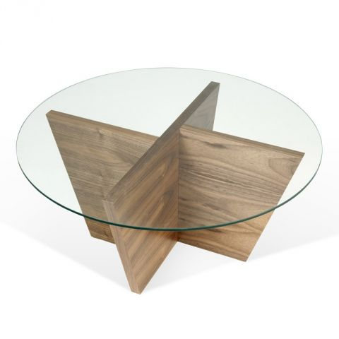 "TemaHome - Table d'Appoint 80cm ""Oliva"" Noyer"