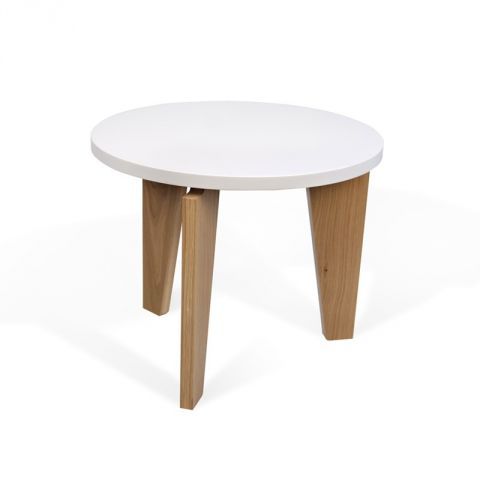 """TemaHome - Table d'Appoint 50cm """"Magnolia"""" Blanc Mat"""