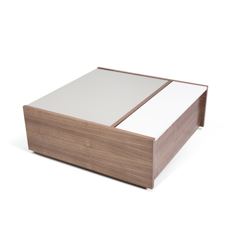 Temahome table basse dann noyer gris blanc - Table basse blanc gris ...