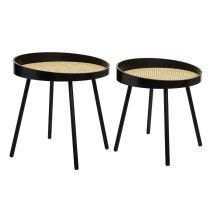 "Lot de 2 Tables à Café Cannage ""Arty"" 46cm Noir"