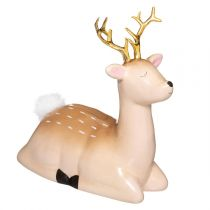 "Tirelire Déco ""Biche"" 14cm Naturel"