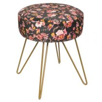 "Tabouret Design Velours ""Gypsy"" 40cm Multicolore"