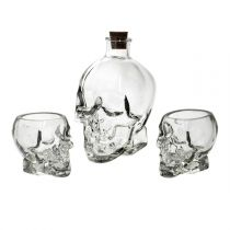 "Coffret Carafe & Shooters ""Skulls"" 22cm Transparent"