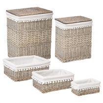 "Lot de 2 Coffres & 3 Paniers ""Folk"" 56cm Blanc"