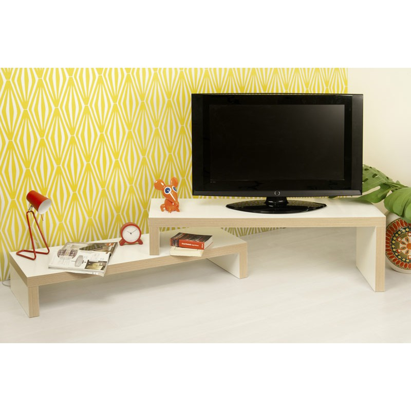 temahome meuble tv cliff 120cm blanc mat contreplaqu. Black Bedroom Furniture Sets. Home Design Ideas