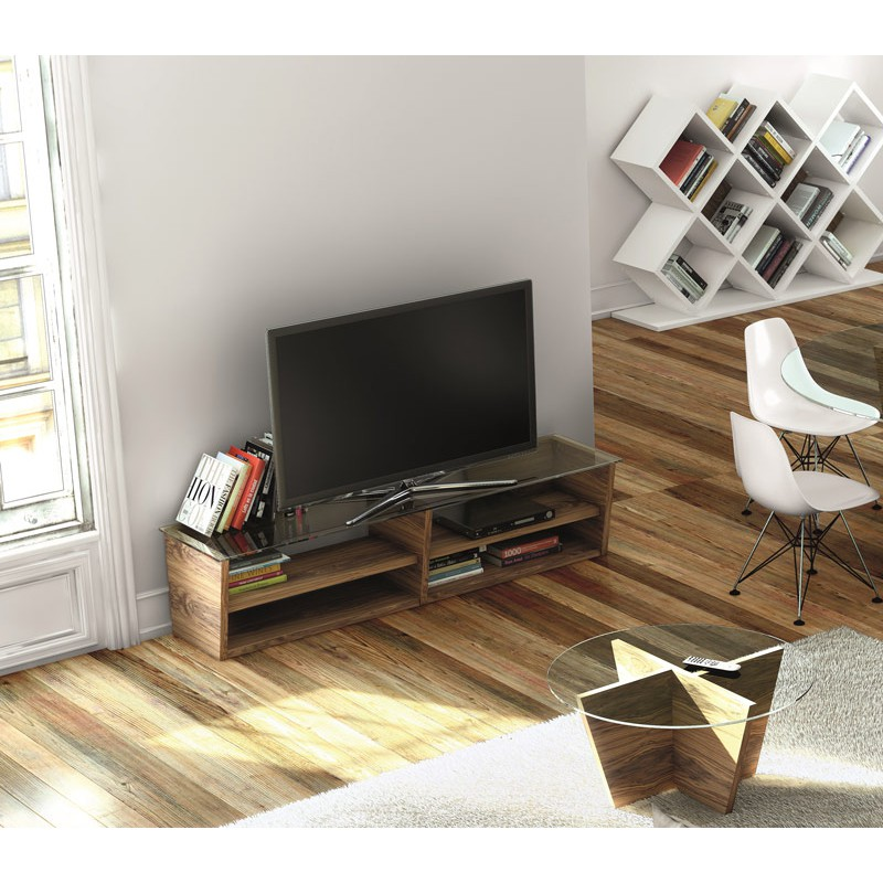 temahome meuble tv oliva 170cm noyer. Black Bedroom Furniture Sets. Home Design Ideas
