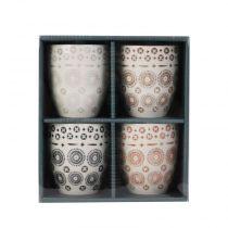 "Lot de 4 Tasses Déco ""Mirage"" 9cm Multicolore"
