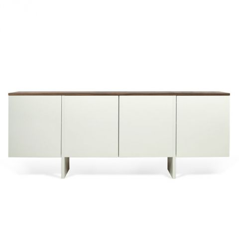 temahome buffet 4 portes edge blanc mat noyer. Black Bedroom Furniture Sets. Home Design Ideas