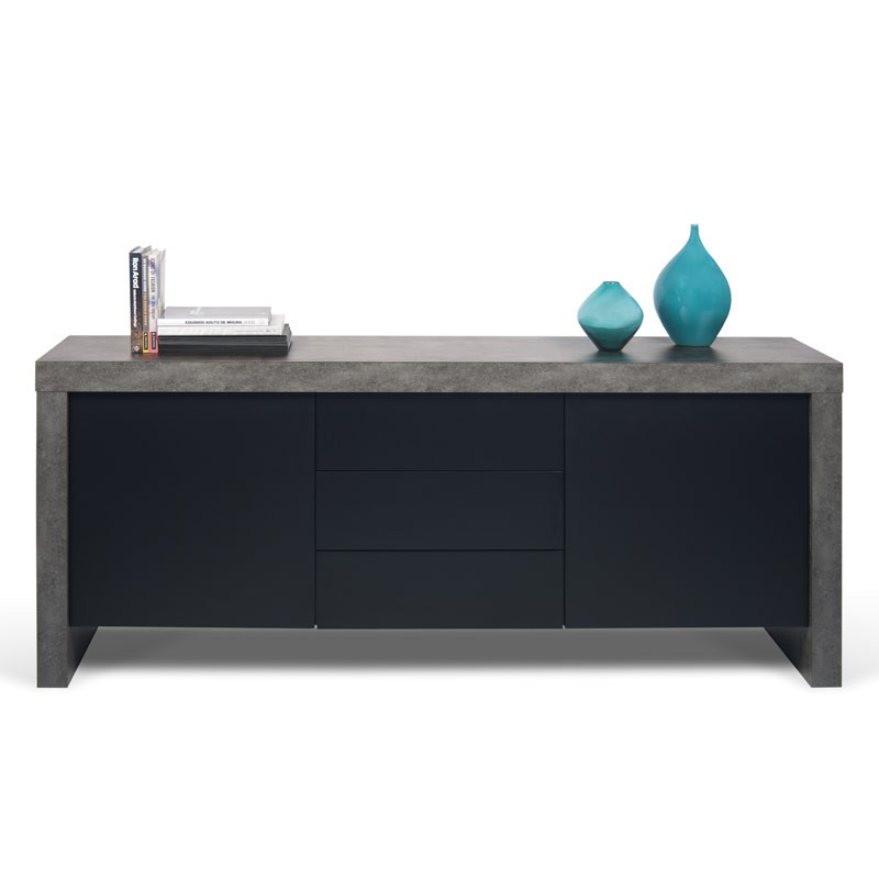 temahome buffet 2 portes 3 tiroirs kobe noir mat b ton. Black Bedroom Furniture Sets. Home Design Ideas