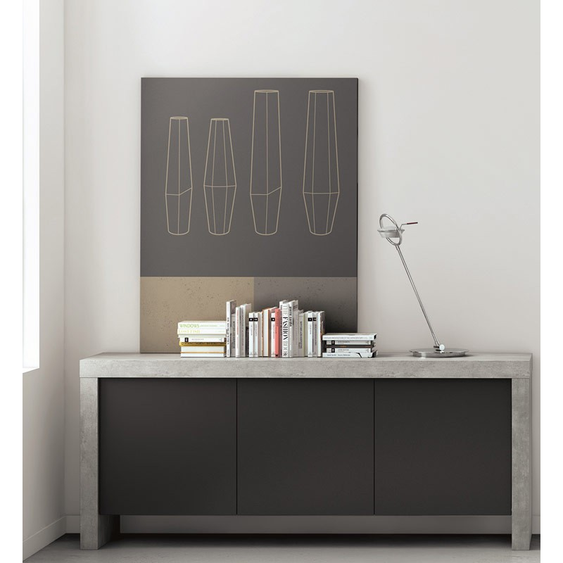 temahome buffet 3 portes kobe noir mat b ton. Black Bedroom Furniture Sets. Home Design Ideas