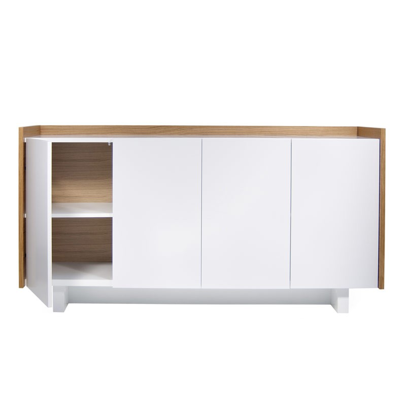 temahome buffet 4 portes skin blanc mat ch ne. Black Bedroom Furniture Sets. Home Design Ideas